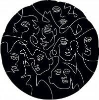 Шар (18''/46 см) Круг, Инверсия, Абстрактный образ, Черный, 1 шт.