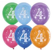 """M 12""""/30см Пастель+Декоратор (шелк) спец. ассорти 2 ст. рис Цифра Четыре 10шт шар латекс"""
