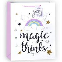 Пакет подарочный, Волшебная радуга, Белый, с блестками, 23*18*10 см, 1 шт.