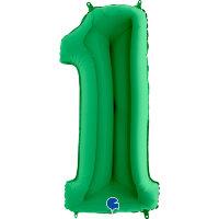 Шар (40''/102 см) Цифра, 1, Зеленый, 1 шт.