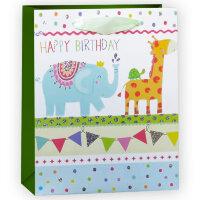 Пакет подарочный, С Днем Рождения (веселые животные), Салатовый, с блестками, 23*18*10 см, 1 шт.