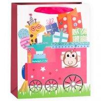Пакет подарочный, Паровозик с подарками, Розовый, с блестками, 23*18*10 см, 1 шт.