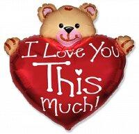 Шар (13''/33 см) Мини-фигура, Медвежонок с большим сердцем, Красный, 5 шт.