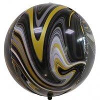 Шар (22''/56 см) Сфера 3D, Мрамор, Черный/Золото, Агат, 1 шт.