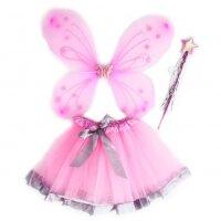 Набор (крылья, юбочка, волшебная палочка) Фея Бабочка, Розовый, с блестками, 1 шт.