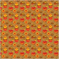 Упаковочная бумага, Крафт (0,7*1 м) Капкейки, Сладкие признания, Красный, 2 шт.