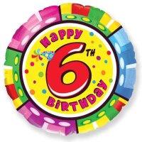 Шар (18''/46 см) Круг, 6 Цифра, Happy Birthday, 1 шт.