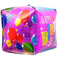 Шар 3D (21''/53 см) Куб, С Днем Рождения (воздушные шарики), 1 шт.