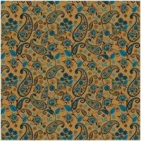 Упаковочная бумага, Крафт (0,7*1 м) Огуречный узор, Синий, 2 шт.