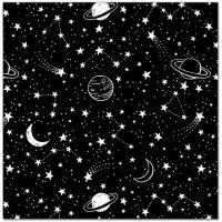 Упаковочная бумага (0,7*1 м) Бескрайний космос, Черный, 2 шт.