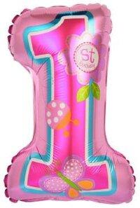 Шар с клапаном (16''/41 см) Цифра, Первый ДР Девочки, Розовый, 5 шт.