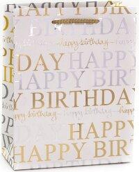 Пакет подарочный, С Днем Рождения! (стильные буквы), Золото, Металлик, 23*18*8 см, 1 шт.