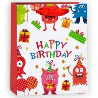 Пакет подарочный С Днем Рождения (милые монстрики), Красный, 26*32*12 см