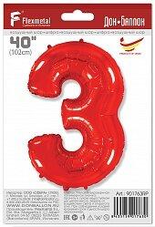 Шар (40''/102 см) Цифра, 3, Красный, 1 шт. в упак.