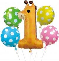 Набор шаров (34''/86 см) 1-ый День Рождения, Маленький Жираф, 5 шт. в упак.