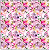 Упаковочная бумага (0,7*1 м) Акварельные цветы, Сиреневый, 2 шт.