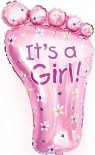 Шар (30''/76 см) Фигура, Ножка малышки, Розовый, 1 шт.