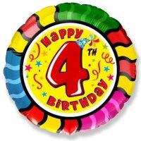 Шар (18''/46 см) Круг, 4 Happy Birthday, 1 шт.