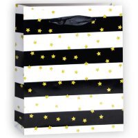 Пакет подарочный Золотые звезды, Черный/Белый, 26*32*12 см