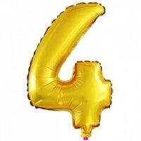 Шар с клапаном (16''/41 см) Цифра, 4, Золото, 5 шт.