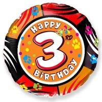 Шар (18''/46 см) Круг, 3 Happy Birthday, 1 шт.