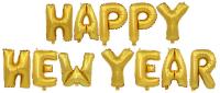 """Набор шаров-букв (16''/41 см) Мини-Надпись """"Happy New Year"""", Золото, 1 шт. в упак."""