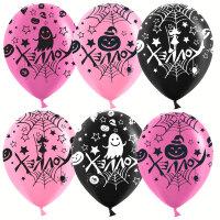 Шар (12''/30 см) Веселый Хэллоуин, Розовый/Черный, пастель, 5 ст, 25 шт.