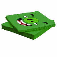 Салфетки, Angry Birds, Зеленый, 33*33 см, 12 шт.