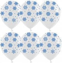 Шар (12''/30 см) Снежинки, Белый, пастель, 5 ст, 25 шт.