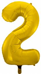 Шар (34''/86 см) Цифра, 2, Золото, 1 шт. в упак.