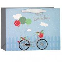 Пакет подарочный, С Днем Рождения (велосипед и шарики), Голубой, 18*23*10 см, 1 шт.