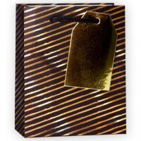 Пакет подарочный, Золотые полосы, Черный, 32*26*12 см, 1 шт.