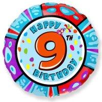 Шар (18''/46 см) Круг, 9 Happy Birthday, 1 шт.