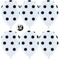 Шар (12''/30 см) Черные точки, Белый (005), пастель, 5 ст, 12 шт.