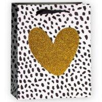 Пакет подарочный, Сердце, Золото/Черный, с блестками, 32*26*12 см, 1 шт.