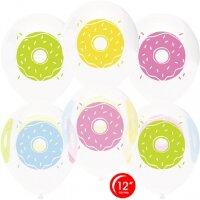 Шар (12''/30 см) Пончики, Белый (801)/Прозрачный (701), кристалл, 4 ст, 50 шт.