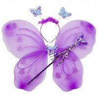 Набор (ободок, крылья, волшебная палочка), Фея Бабочка, Сиреневый, с блестками, 1 шт.