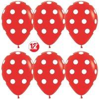 Шар (12''/30 см) Белые точки, Красный (015), пастель, 5 ст, 50 шт.