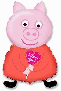Шар (13''/33 см) Мини-фигура, Поросенок с сердцем, Розовый, 5 шт.
