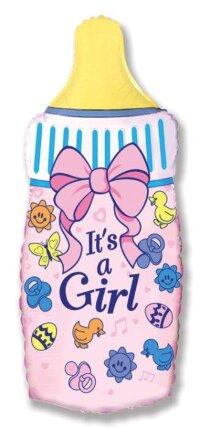 Шар (14''/36 см) Мини-фигура, Бутылочка для девочки, Розовый, 5 шт.