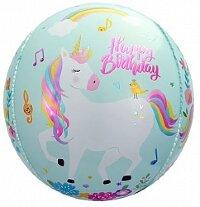 Шар (24''/61 см) Сфера 3D, С Днем Рождения (волшебные единороги), Бирюзовый, 1 шт.