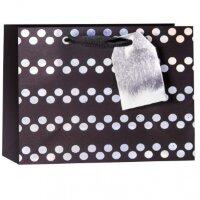 Пакет подарочный, Серебряные точки, Черный, 18*25*8 см, 1 шт.