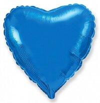 Шар (9''/23 см) Мини-сердце, Синий,5 шт.