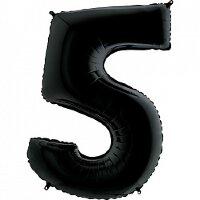 Шар (40''/102 см) Цифра, 5, Черный, 1 шт.