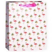 Пакет подарочный, Фламинго, с блестками, 23*18*10 см, 1 шт.