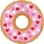 Шар (10''/25 см) Мини-фигура, Пончик ( в сердечках), Розовый, 5 шт.