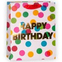 Пакет подарочный, С Днем Рождения (разноцветные точки), Белый, 23*18*10 см, 1 шт.