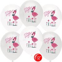 Шар (12''/30 см) Фламинго, С Днем Рождения!, Белый (801)/Прозрачный (701), кристалл, 1 ст, 50 шт.