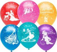 Воздушный шар (12''/30 см) Принцессы Диснея, С Днем Рождения!, Ассорти, пастель, 5 ст, 25 шт.