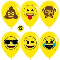 Шар (12''/30 см) Смайлы, Emoji (Озорные), Желтый (020), пастель, 2 ст, 12 шт.
